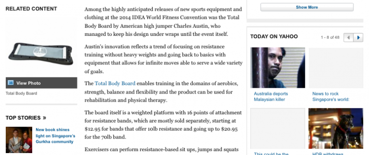 Total Body Board in Yahoo News